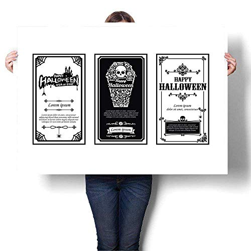 Anyangeight Landscape Canvas Halloween Card Classic and Vintage Style Design Element Vector i Decorative Fine Art Canvas Print Poster K 48