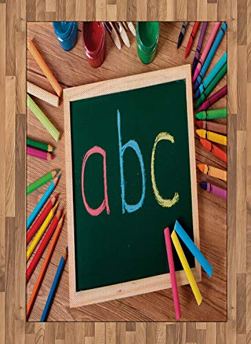 (Crayon Area Rugs 2.6'x5'ft,School Themed Photo with ABC Lettering on Chalkboard with Painting Crafts Print Rubber Backing Floor Carpet Throw Rug Runners for Bedroom Living Room, Multicolor)