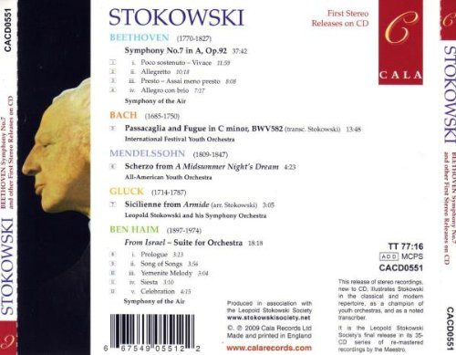 Stokowski / Beethoven: Symphony No. 7 / Bach: Passaacaglia and Fugue / Mendelssohn: Scherzo / Gluck: Sicilienne / Ben-Haim: From Israel by Cala Records