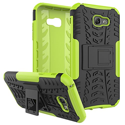 "Galaxy A7 (2017) Case, SsHhUu Tough Heavy Duty Shock Proof Defender Cover Dual Layer Armor Combo Protective Case Cover for Samsung Galaxy A7 (2017) (5.7"") Green"