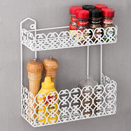 MyGift Wall-Mounted 2 Tier Shelf Rack for Kitchen Spices Bathroom Product Holder, White