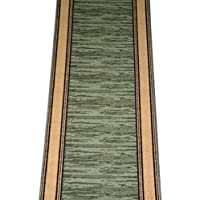 Dean Washable Carpet Rug Runner - Boxer Green - Purchase By the Linear Foot