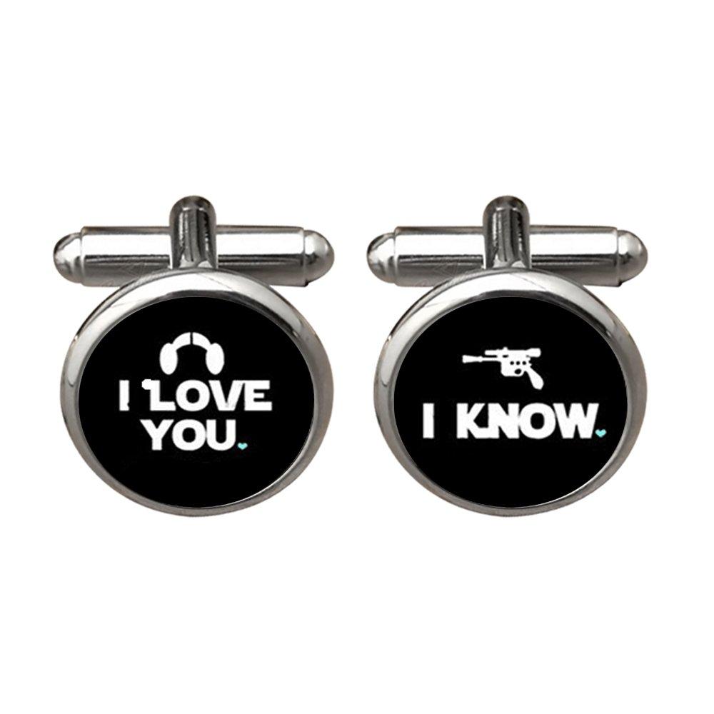 ZUNON I Love You I Know Valentine's Day Wedding Anniversary Groom Groomsmen Wedding Cufflinks (Black)