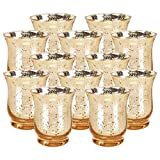 Just Artifacts Mercury Glass HurricaneVotiveCandle Holder 3.5'' H(12pcs,Speckled Gold) - Mercury Glass Votive Tealight Candle Holders for Weddings, Parties and Home Décor