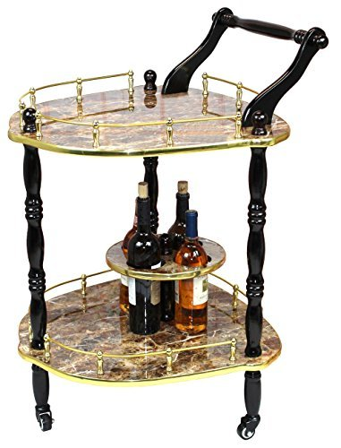 2-Tier Elegantly Shaped Serving Tea Cart, Gold Marble Finish by Uniquewise