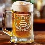 Personalized Etched Monogram 16oz Beer Mug (Design 3)
