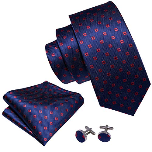 Barry.Wang Ties Woven Silk Mens Necktie Set Hanky Cufflinks Blue and Red