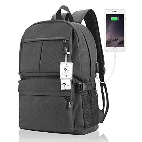 blo 15 15.6 Inch College Backpack with USB Charging Port Light Weight Travel Backpack for Men Women (Linen Everyday Pocket Folder)