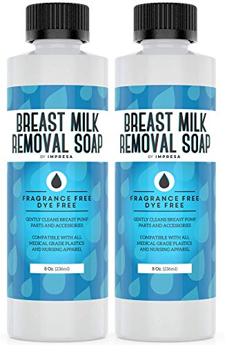 2-Pack of 8 Oz Breast Milk Removal Soap - Clean Your Pump Parts, Bottles, Nipples and Nursing Apparel Quick - 16 Total Ounces - Fragrance-Free, Dye-Free - Made in The USA - by IMPRESA
