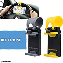 Universal Phone Holder for Car Steering Wheels - 2 Pack - Strong Non Slip Connector - Auto Fit - For iPhone 7, 6, 6s, Samsung Galaxy S7, S6, etc. - With Rebel Tone Cleaning Cloth and Retail Pack