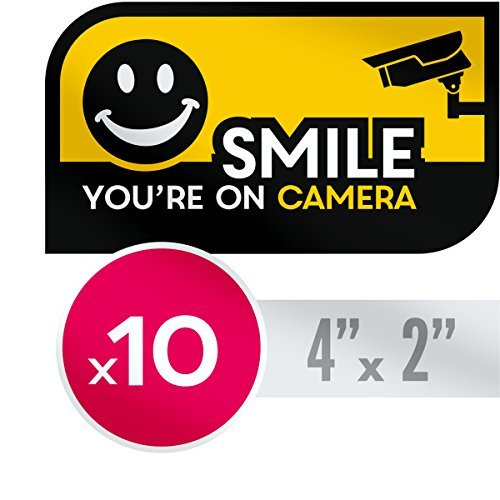 Security Warning Stickers - UV Resistant, No Fade Security CCTV Warning Sticker - 10 X Smile You're on Camera Decals