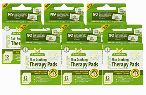 Babyganics Bye Bye Dry Skin Soothing Therapy Pads, 12 Towelettes (Pack of 6)