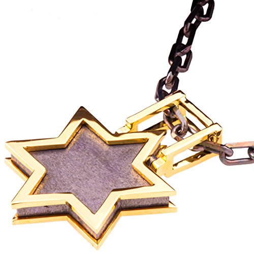 Solid 18K Yellow Gold Star of David Pendant For Men Pave Necklace Black Two Tone David Shield Kabbalah Judaica Steampunk Chain by Doron Merav