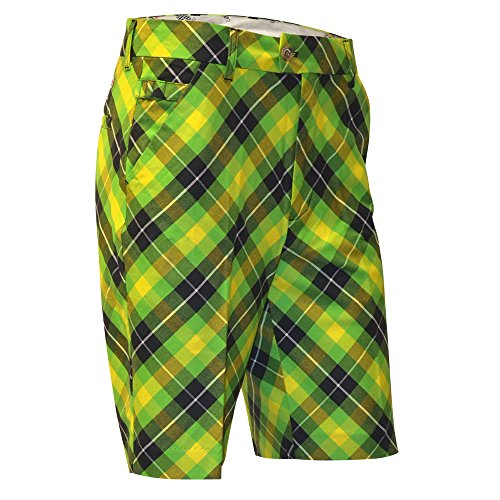 (Royal & Awesome Men's Golf Shorts, Plaid Electric, 34