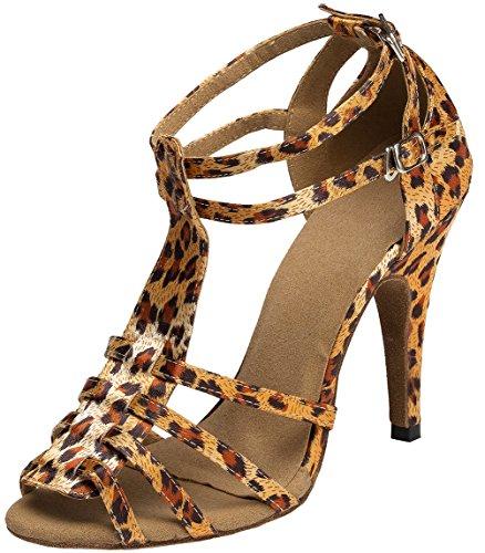 Womens Ballroom L055 Satin Latin Tango CFP Heel Leopard Shoes Custom YYC Dance 4ZxwHH