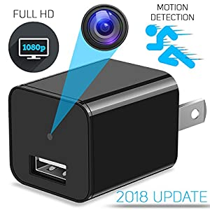 Mini USB Hidden Spy Camera – USB Wall Hidden Camera & Phone Charger Adapter Plug Nanny Video Cam - Motion Detection, Loop Recording And Audio - 1080p HD Resolution – Supports SD Card