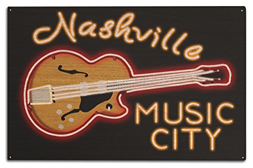 (Lantern Press Nashville, Tennessee - Neon Guitar Sign (10x15 Wood Wall Sign, Wall Decor Ready to Hang))