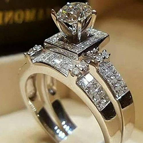 Dokis 925 Silver White Topaz Men Ring Set Women Wedding Bridal Jewelry Size 6-10 | Model RNG - 17643 | 7