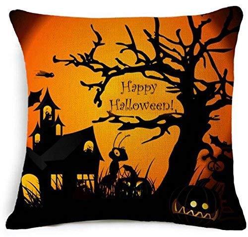 Halloween Pumpkin Bat Cotton Linen Throw Pillow Cover Cushion Case Sofa Office Decorative 18