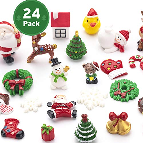 Mini Christmas Ornaments, Sooez Set of 24 Cute Miniature Resin Christmas Tree Ornament Figures Advent CalendarFillers, Durable & Well-Crafted 3-D Figurines with Gold Loops for Easy Hanging
