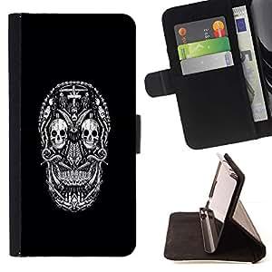 Momo Phone Case / Flip Funda de Cuero Case Cover - Blanco Negro Ink Tattoo minimalista - HTC DESIRE 816