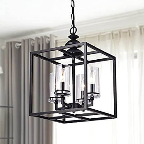 La Pedriza 4-light Antique Black Lantern Chandelier with Clear Glass  Cylinders - La Pedriza 4-light Antique Black Lantern Chandelier With Clear Glass