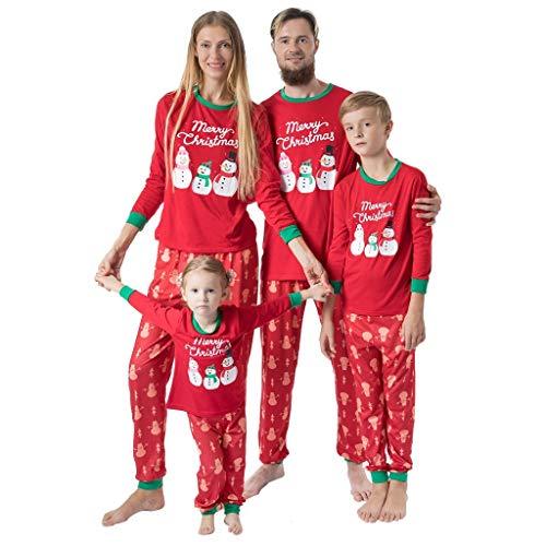 Family Matching Holiday Man Daddy Cartoon Snowman Top+Pants Men Women Boy Girl Kids Christmas Nightwear Pajamas Set (S-2XL)