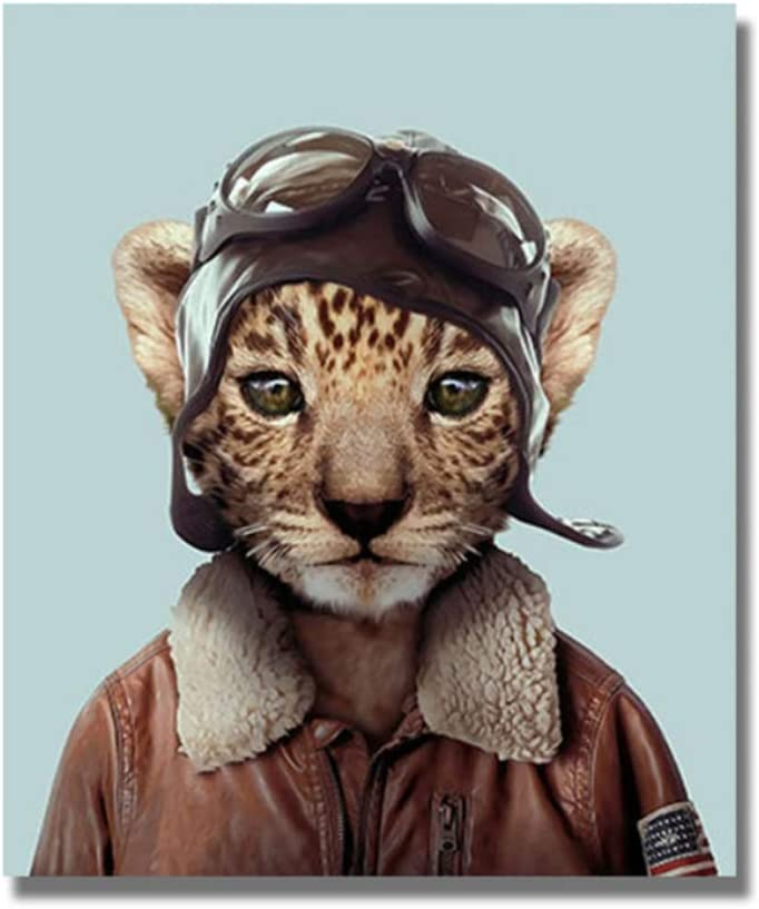 "ZSHMG Canvas Painting Cartoon Cute Cat Animal Pilot Posters and Prints Wall Art for Living Room Home Decor Cuadros 40x55 cm/15.7"" x 21.6""x1 No Frame"