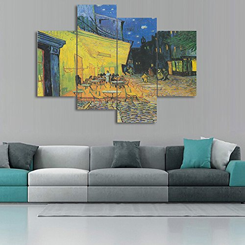 Yatsen Bridge Large Painting Canvas Prints Cafe Terrace at Night by Vincent Van Gogh Wall Art for Living Room Bedroom Home Decor 4 Panels Artwork Set Framed Ready to Hang for Kitchen Wall (48x36inch) ()