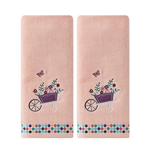 SKL Home by Saturday Knight Ltd. Wheelbarrow 2 Pc Hand Towel Set, Coral - Embroidered Butterfly Hand Towel