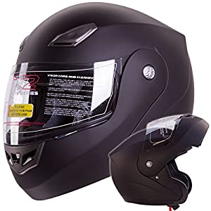Matte Black Modular Flip up Helmet DOT - Comes with FREE TINTED SHIELD (Bluetooth Ready) (XX-Large)
