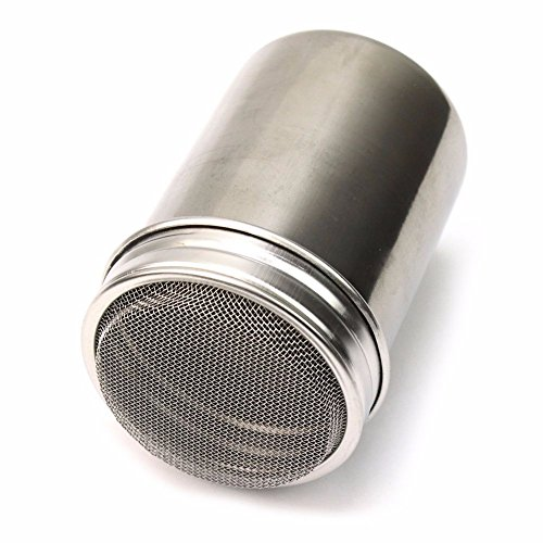 Wetietir Stainless Steel Chocolate Shaker Sieves Cans Cocoa Flour Sifter Cans (Silver) (Silver Sifter)