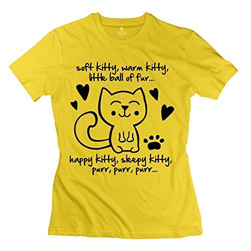 ZZY New Design Soft Kitty Warm Kitty Little Ball Fur T-shirt - Women's Tee Yellow Size XS