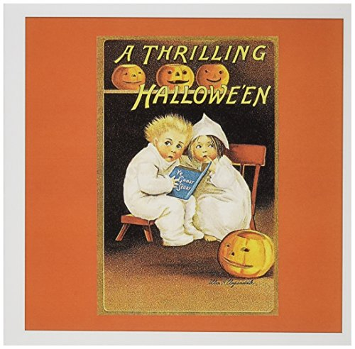 Cute Halloween Greetings (3dRose Thrilling Halloween, Two Cute Children Reading Greeting Cards, 6