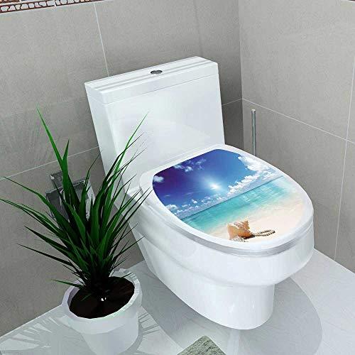 Toilet Sticker Seashells Seashells and Pearls On Sandy Beach Tropical Ocean Dreamiest Coastal CharmImage Home Decor Applique Papers W8 x L11 - Coastal Beans