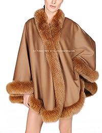 Volare New York Cashmere Shawl with Fox Fur Trim