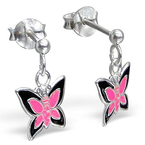 JAYARE® Boucles d'oreilles Enfants papillons 8 x 9 mm Argent 925/1000 noire rose pink avec étui clou d'oreilles fille
