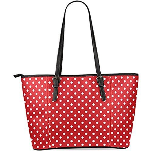 InterestPrint Red and White Polka Dot Women's Leather Tote Shoulder Bags Handbags