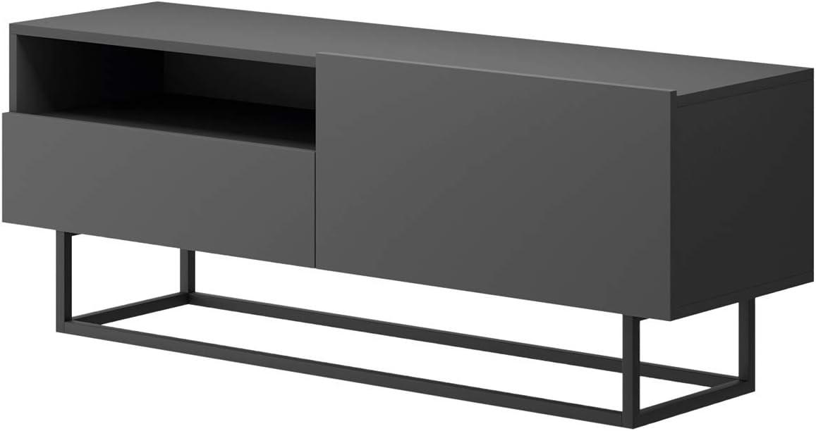 Industrial Fernsehtisch TV Lowboard Tisch Retro Fernsehschrank Holz TV Board Massives mit Stahlrahmen 120 x 37 x 45 cm TURNO TRTsz120 MOEBLO Festnight TV-Schrank Graphite