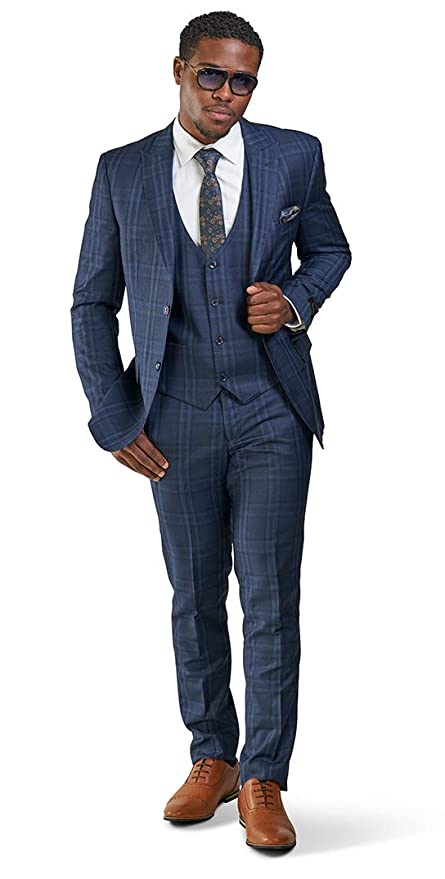 1960s Mens Suits | 70s Mens Disco Suits Slim Fit Suit 2 Button Peak Lapel Windowpane Plaid Vest Optional 35071 $119.00 AT vintagedancer.com