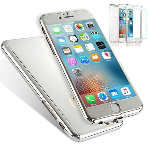 Price comparison product image for iPhone 5 SE 5S Case, L-FADNUT 3in1 Hybird 360 Full Body Protective Hard Slim Plating Mirror Bumper Tempered Glass Screen Protector [Front and Back] Case Shockproof Cover - Metallic Rose Gold