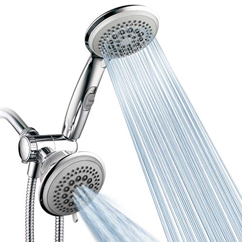 (PowerSpa by HotelSpa Top American Brand High Pressure 3-way Luxury Overhead/Handheld Shower Head Combo with 63 Flow Settings, Water Saving Hand Pause Switch and Stainless Steel Hose/Chrome Finish)