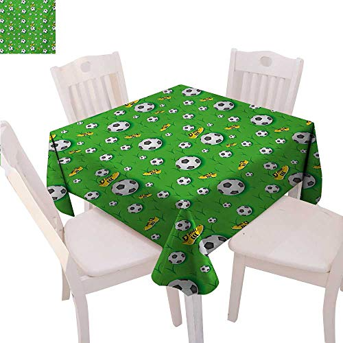 """Soccer Stain Resistant Wrinkle Tablecloth Professional Player Athletics Pattern Football Shoes Balls on Grass Square Wrinkle Resistant Tablecloth 36""""x36"""" Lime Green Yellow Black"""
