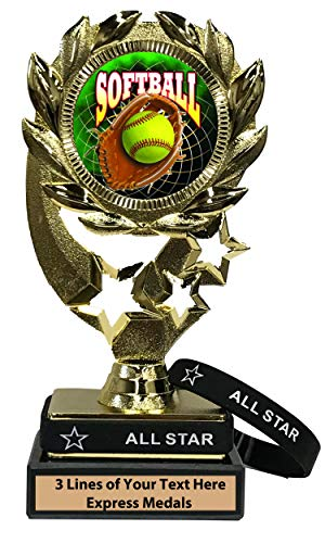Express Medals Softball Trophy with Removable Wearable All Star Wrist Band Marble Base and Personalized Engraved Plate 547