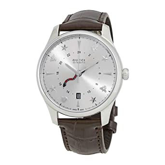 9b961915a1c Amazon.com  Gucci G-Timeless Silver Dial Automatic Mens Leather ...