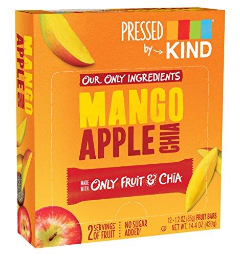 Pressed by KIND Fruit Bars, Mango Apple Chia, No Sugar Added, Non GMO, Gluten Free, 1.2oz, 12 (Mango Fruit)