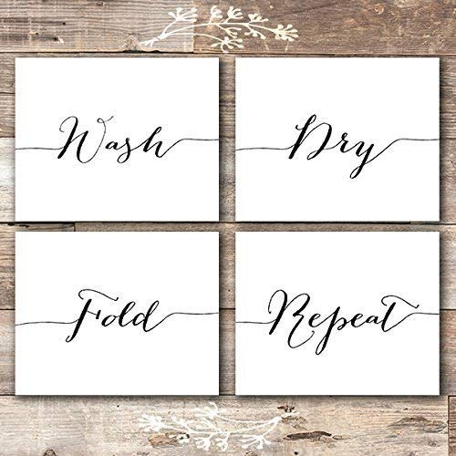 - Wash Dry Fold Repeat - Laundry Room Wall Decor Art Prints (Set of 4) - Unframed - 8x10s
