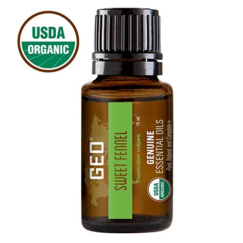 Fennel Organic Essential Oil (SWEET FENNEL Organic Essential Oil. Aids with Liver and Digestive Tract, Gout, Muscle Cramps, Asthma, Bronchitis, 1 bottle, 15 ml. USDA Organic. Certified by CCOF. Sold by GEO Essential Oils)