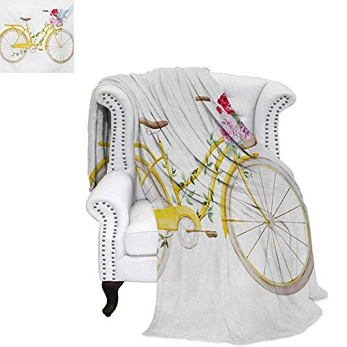 warmfamily Vintage Velvet Plush Throw Blanket Watercolor Style Effect Bicycle with Leaves and Flowers in The Basket Pattern Throw Blanket 50