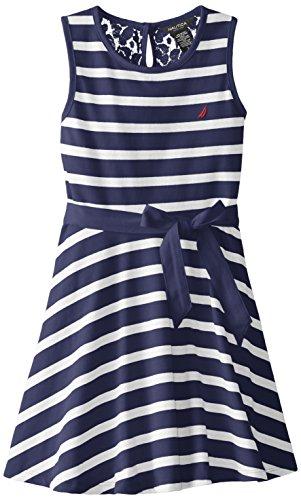 Nautica Big Girls' Jersey Stripe Tank Dress with Lace Back Yoke, EL Navy, 12